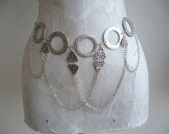 Metal loop belt / metal belt tassel/ethnic tribal belt/belly chain