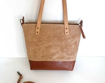 Tan Waxed Canvas and Brown Leather bottomTote Bag with zipper and leather straps- / Shoulder bag / Bags for School