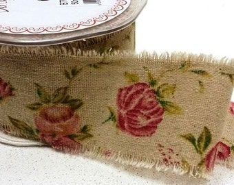 Antique Rose Print Burlap Ribbon - Wide Rustic Trim - Wedding Decoration - Sold per metre