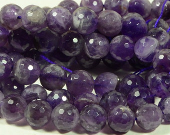 Amethyst Facet 10mm Round Beads Natural Gemstone Jewelry Making Supplies