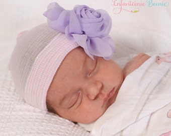 LAVENDER ROSE on pink/white newborn Baby girl hat, baby girl clothes, newborn girl hat, newborn photo prop, coming home outfit,baby girl hat