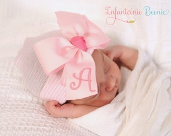 ANY INITIAL baby girl hat infanteenie beanie newborn baby girl hospital hat with monogrammed bow any initial baby girl take home outfit
