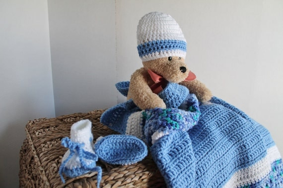 Baby Set - Afghan - Baby Hat - Baby Booties - Blue and White - Toddler Blanket