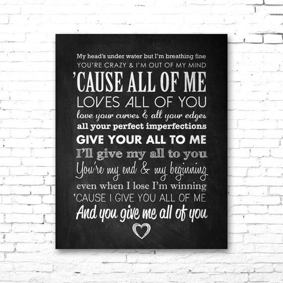 john legend all of me printable lyrics artwork