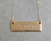 Coordinates Gold Bar Necklace / Delicate Chain with Personallized Engraved Tag
