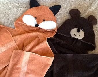 Adult Fox or Bear Towel with Hood Thicker and Heavier for Beach, Pool, or Bath