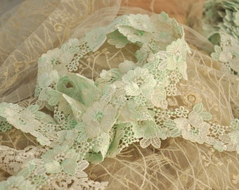 Venice lace trim in pale green for bridals, garters, headpieces, baby headbands,Jewelry design