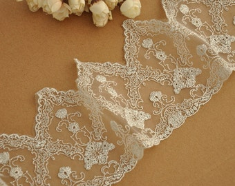 silver embroidery lace trim with vintage style design for bridal veil. garters