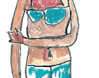 print of diary oil pastel painting, bikini, fine art print, giclee print, 8 x 10 or a4 format, epson pigment ink