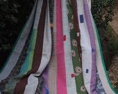 Cool striped Kantha, Patchwork Kantha,Pastel stripe Kantha, Striped Patchwork Throw, Kantha Blanket,  Sari Quilt,Heavy Blue Gudri
