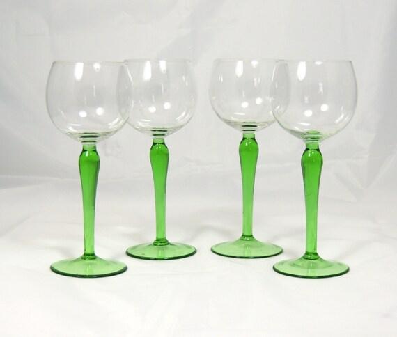 green stem wine glasses 4 long stem hock glasses. Black Bedroom Furniture Sets. Home Design Ideas