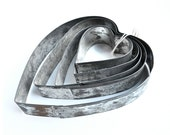 vintage concentric heart shaped baking cutters, instant collection of 5 from Elizabeth Rosen