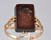 Vintage Gold Ring - Victorian Ladies Intaglio Ring - 10kt Rose Gold and Carnelian - Size 6.5  - C1890s