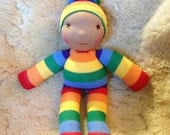 "Custom Rainbow Doll with nose 12"" tall Toddler friendly Wool filled Waldorf inspired toy ready in August"