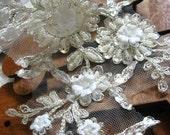 bridal lace applique, beaded lace applique, silver alencon lace applique, bridal headpiece applique