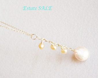 Round Pearl Pendant, Vintage Silver, Elegant, Feminine Accessory, VALENTINES SALE, Item No. S 035