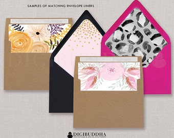 ENVELOPE LINERS Made to Match any digibuddha Printed Invitation Slide - In Liner Coordinating Bridal Shower Wedding Baby Shower Lined Add-On