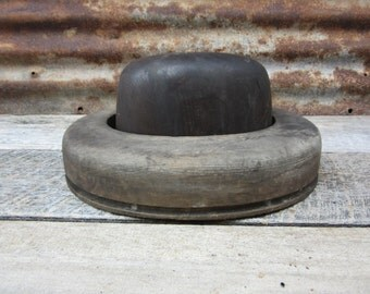 Antique Wood Hat Mold Mullinery Primitive Hat Block and Flange Old Fashioned Hat Makers Hatters Mold Late 1800s Era Primitive Rustic Old