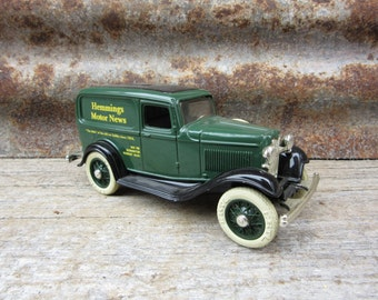 Vintage Toy Bank 1990s Era ERTL Made in USA 1932 Ford Delivery Van Hemmings Motor News Truck Collectible Antique Style Car Bank Metal