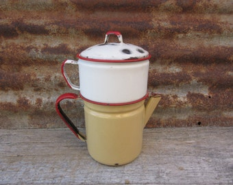 Vintage Old Fashioned Coffee Percolator Perculator Kettle Red White Off White Porcelain Enamelware over Metal Retro 1950s Era Kitchen Decor