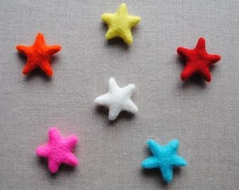 100% wool felt handmade stars - 6 pieces, choose your colours