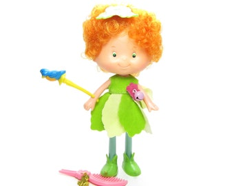 Meadow Morn Doll Herself the Elf Friend with Red Hair, Green Dress, Bluebird Wand, Charm, and Comb