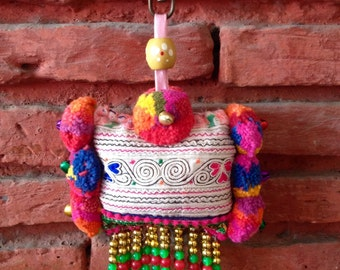 Colourful Decorative Heart / Flowers Bag Charm / Hmong Keychain