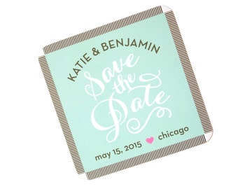 Mint Green Coaster Save the Date Calligraphy Carolyna Font with kraft envelope