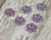 Lavender Flower Bead 14x5mm Czech Glass Metallic Copper Purple Milky BUTTERCUP (10)