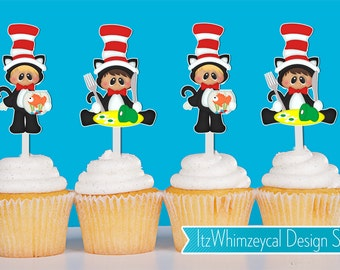 Imagination Cat With A Hat Cupcake Toppers