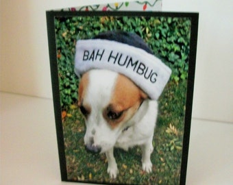 Bah Humbug Christmas Card, Scrooge Christmas Card, Humorous Dog Christmas Card