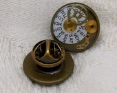 Steampunk Tie Tack in Antique Brass with Watch Parts 16mm