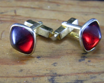 Swank Red and Gold Cuff Links domed square