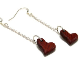 Handmade Heart Earrings - Carved Wooden Earrings - Bloodwood Earrings - Wooden Hearts