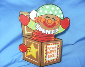 """Jack in The Box Wood Hallmark Wall Plaque, """"Put on a Happy Face"""""""
