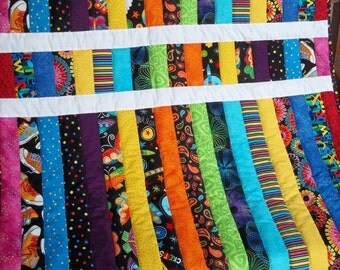 Multi-colored Quilt in Stripes