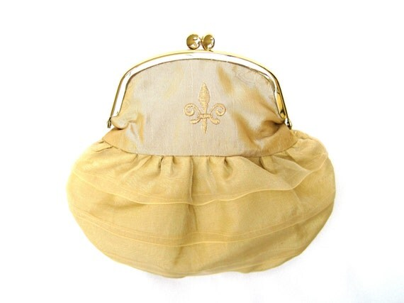 Small Clutch Purse Framed Pouch Small Evening Clutch Gold Taffeta Clutch Fleur-de-lis On The Town Clutch Petite Purse Gift Idea