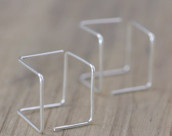 Sterling silver wiring cube geometric earrings  Bridesmaid gifts Free US Shipping handmade Anni designs
