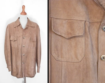 1970s Suede Coat Cortefiel Distressed Taupe Rustic Tan Mens Size Large 4 Pocket