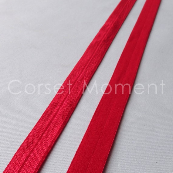 16mm Wide Red Soft Foldover Elastic Binding Webbing Tape Craft