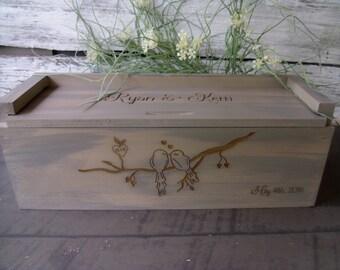 Wine Box, Love Birds, Wedding Wine Box, Wine Box Ceremony, Time Capsule, Personalized WInebox, Rustic Wedding Wine box, Love Letter Box