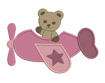 Instant download Plane Bear embroidery design machine