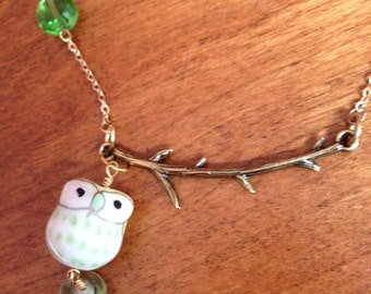 Necklace with Ceramic Owl and Beads