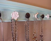 """Beautiful blue/green  jewelry organizer,This necklace rack has 7 decorative knobs 20 """"necklace holder/ jewelry storage"""