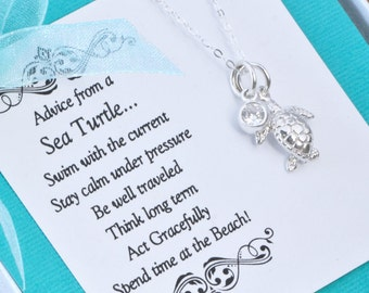Sea Turtle Necklace, Sea Turtle Charm, Graduatation Gift, Beach Jewelry, Sea Turtle Jewelry, Silver Turtle, Birthstone Charm Necklace