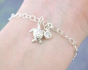 Sea Turtle Charm Bracelets, Sea Turtle Bracelet, Birthstone Charm Bracelet , Beach Jewelry, Sea Turtle Jewelry, Silver Turtle