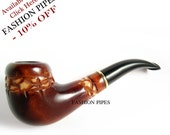"""Tobacco Pipe """"STONEHENGE"""" 6.1 In for Pipe Smokers,  Wooden pipe Tobacco Smoking Pipe Carving Handmade. BEST OFFER"""