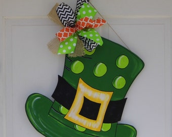 St. Patrick's Day Door Hanger, St. Patrick's Hat Door Hanger, Green Hat Door Hanger, St Patricks Day Decor, Irish Celebration