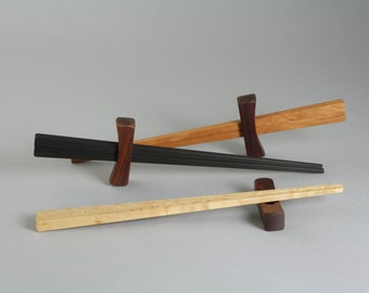 Chopsticks- Bird's Eye Maple or Cherry with Cocobolo Rest.  Housewarming Gift, Date Night, Handmade in USA