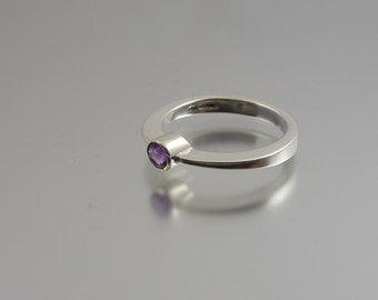 Silver Amethyst Band Ring